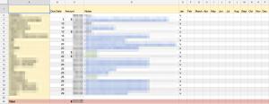 Google spreadsheet screenshot